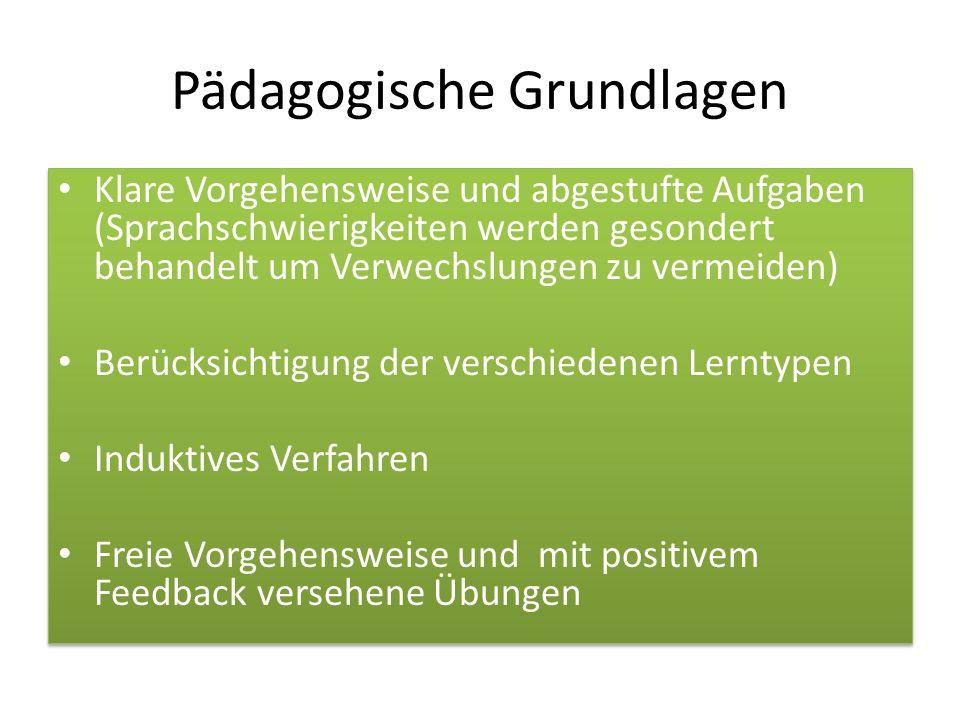 Pädagogische Grundlagen Klare Vorgehensweise und abgestufte Aufgaben (Sprachschwierigkeiten werden gesondert behandelt um Verwechslungen zu vermeiden)