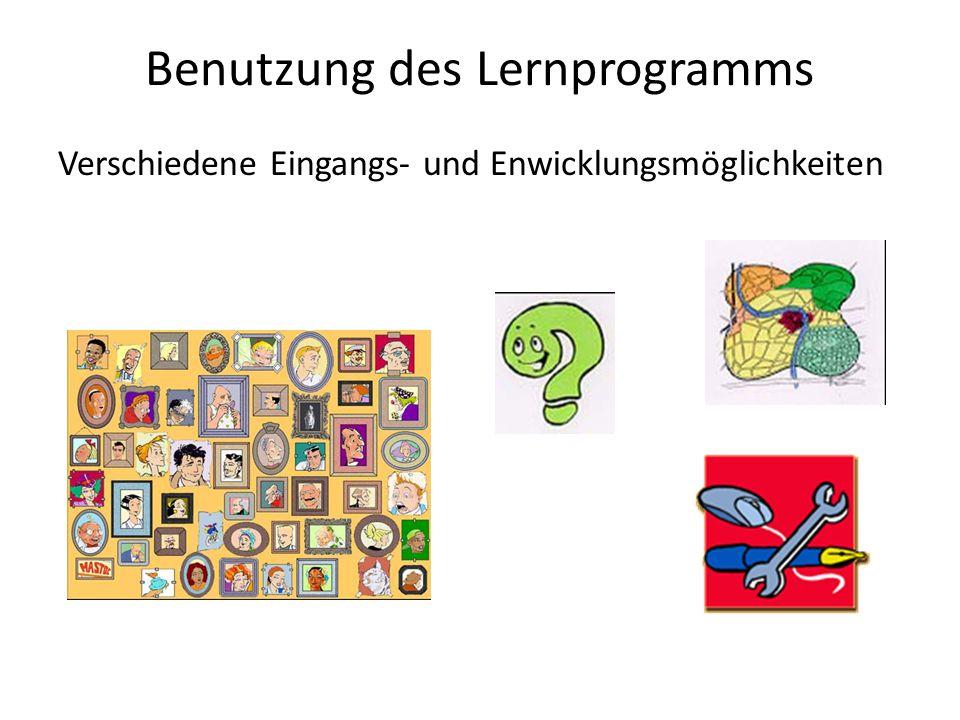 Benutzung des Lernprogramms Verschiedene Eingangs- und Enwicklungsmöglichkeiten