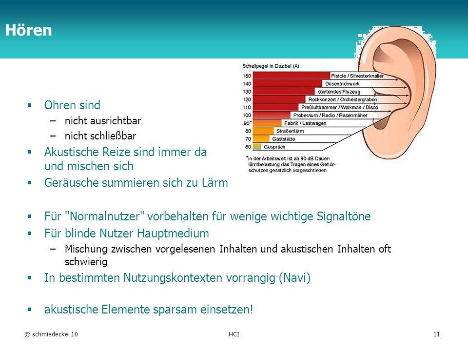TFH Berlin Hören Ohren sind –nicht ausrichtbar –nicht schließbar Akustische Reize sind immer da und mischen sich Geräusche summieren sich zu Lärm Für Normalnutzer vorbehalten für wenige wichtige Signaltöne Für blinde Nutzer Hauptmedium –Mischung zwischen vorgelesenen Inhalten und akustischen Inhalten oft schwierig In bestimmten Nutzungskontexten vorrangig (Navi) akustische Elemente sparsam einsetzen.