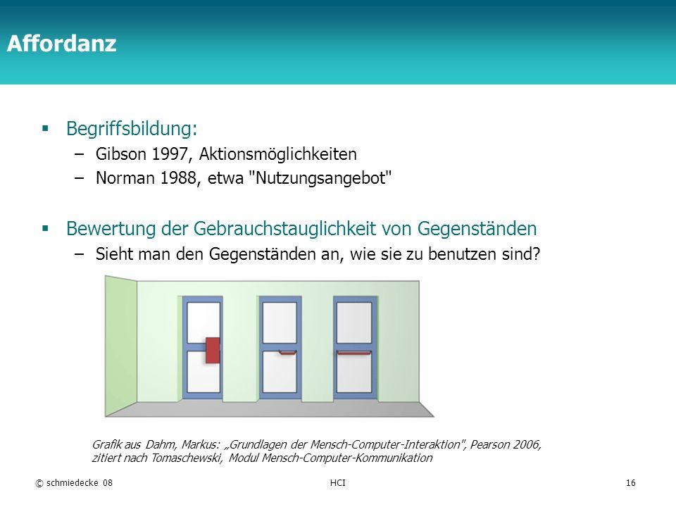 TFH Berlin © schmiedecke 08HCI16 Affordanz Begriffsbildung: –Gibson 1997, Aktionsmöglichkeiten –Norman 1988, etwa Nutzungsangebot Bewertung der Gebrauchstauglichkeit von Gegenständen –Sieht man den Gegenständen an, wie sie zu benutzen sind.