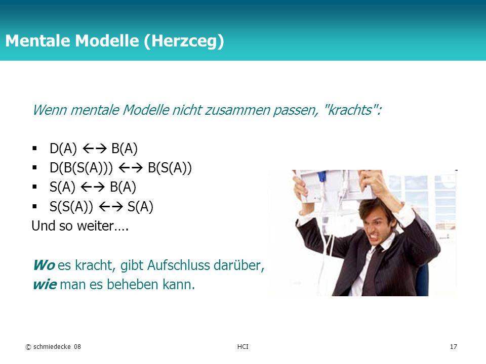 TFH Berlin © schmiedecke 08HCI17 Mentale Modelle (Herzceg) Wenn mentale Modelle nicht zusammen passen, krachts : D(A) B(A) D(B(S(A))) B(S(A)) S(A) B(A) S(S(A)) S(A) Und so weiter….