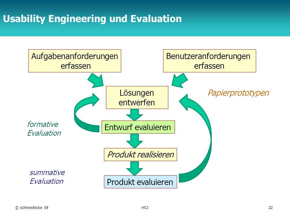 TFH Berlin Usability Engineering und Evaluation © schmiedecke 08HCI22 Aufgabenanforderungen erfassen Benutzeranforderungen erfassen Lösungen entwerfen Entwurf evaluieren Produkt realisieren Produkt evaluieren formative Evaluation summative Evaluation Papierprototypen