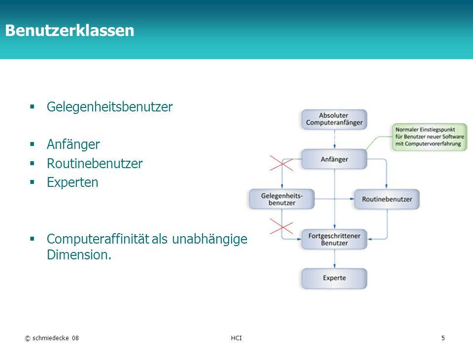 TFH Berlin Benutzerklassen Gelegenheitsbenutzer Anfänger Routinebenutzer Experten Computeraffinität als unabhängige Dimension.