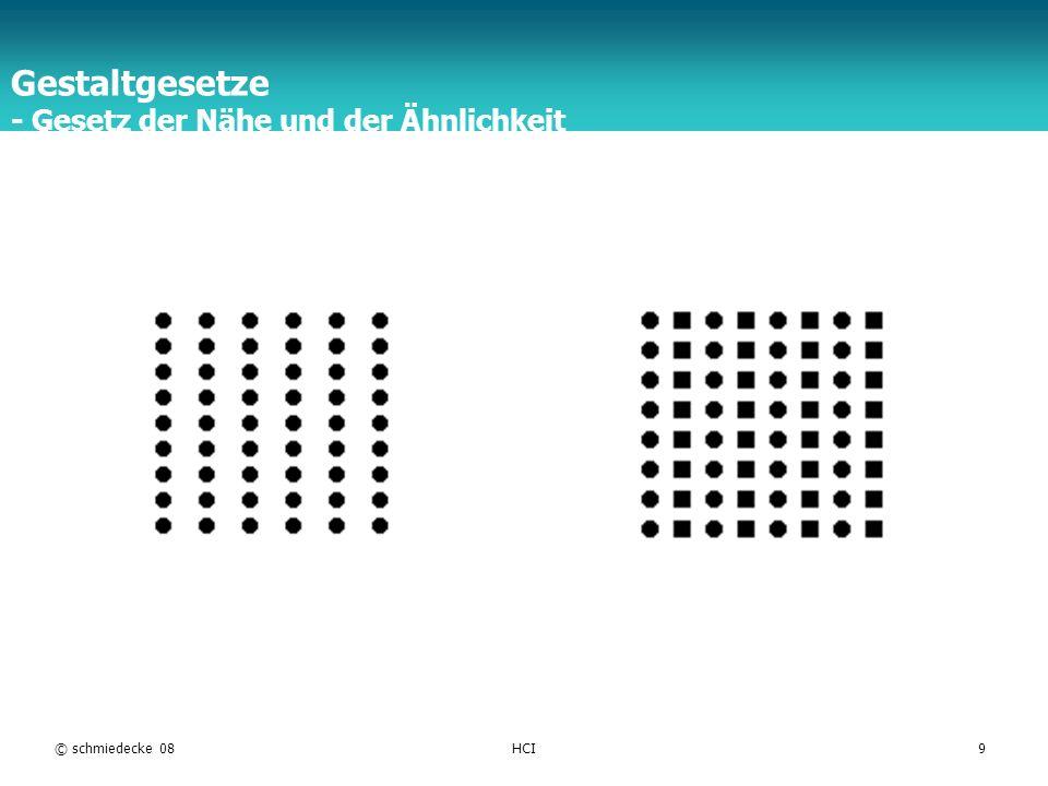 TFH Berlin © schmiedecke 08HCI9 Gestaltgesetze - Gesetz der Nähe und der Ähnlichkeit