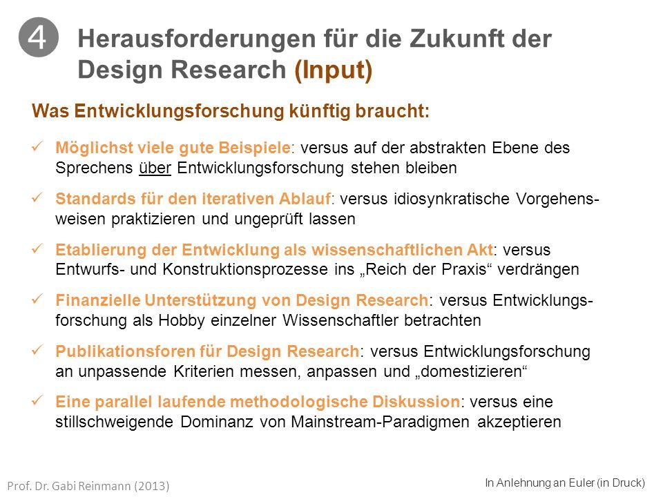 Prof. Dr. Gabi Reinmann (2013) In Anlehnung an Euler (in Druck) Möglichst viele gute Beispiele: versus auf der abstrakten Ebene des Sprechens über Ent