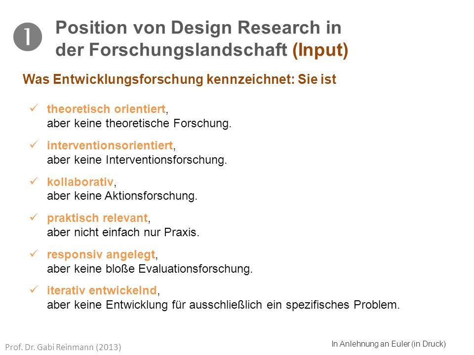 Prof. Dr. Gabi Reinmann (2013) In Anlehnung an Euler (in Druck) theoretisch orientiert, aber keine theoretische Forschung. interventionsorientiert, ab