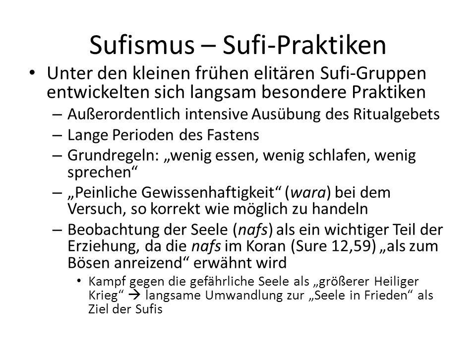 Sufismus – Sufi-Praktiken Unter den kleinen frühen elitären Sufi-Gruppen entwickelten sich langsam besondere Praktiken – Außerordentlich intensive Aus