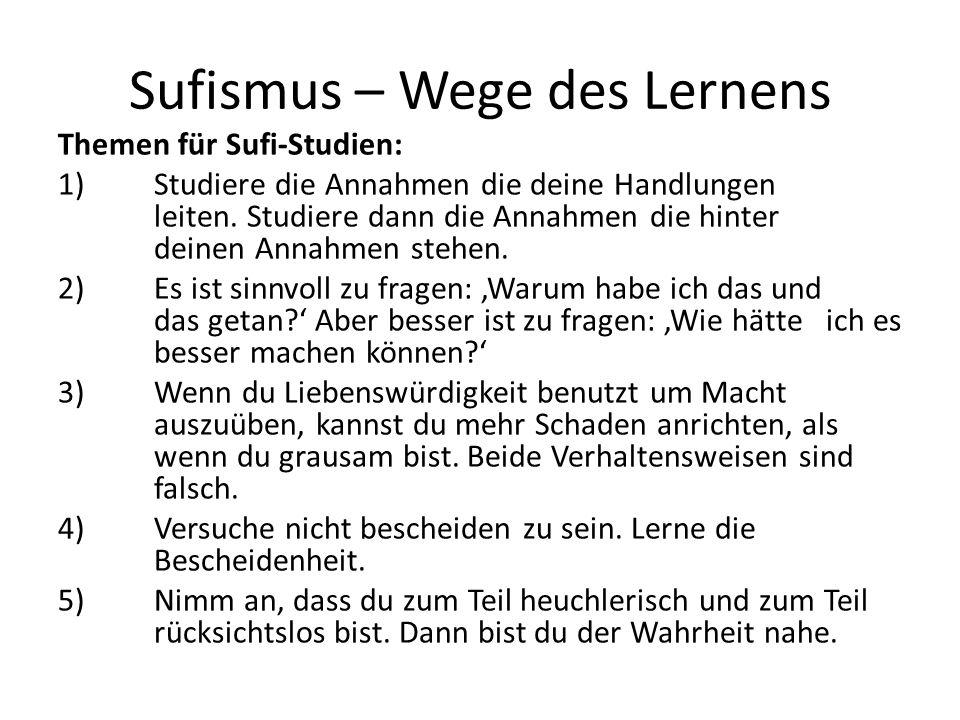 Sufismus – Wege des Lernens Themen für Sufi-Studien: 1) Studiere die Annahmen die deine Handlungen leiten. Studiere dann die Annahmen die hinter deine