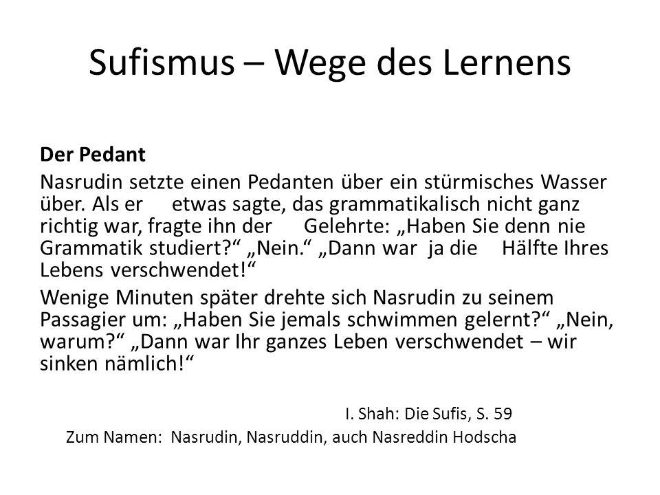 Sufismus – Wege des Lernens Der Pedant Nasrudin setzte einen Pedanten über ein stürmisches Wasser über. Als er etwas sagte, das grammatikalisch nicht
