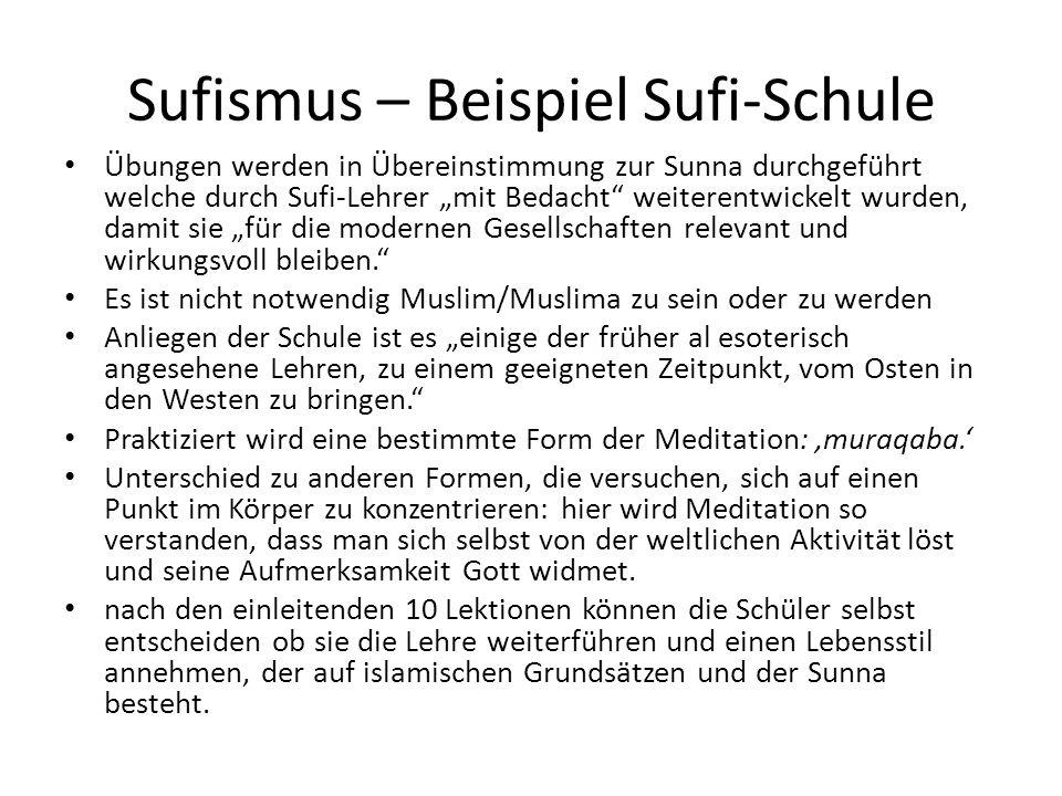 Sufismus – Beispiel Sufi-Schule Übungen werden in Übereinstimmung zur Sunna durchgeführt welche durch Sufi-Lehrer mit Bedacht weiterentwickelt wurden,