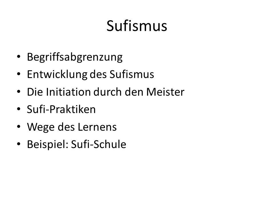 Sufismus Begriffsabgrenzung Entwicklung des Sufismus Die Initiation durch den Meister Sufi-Praktiken Wege des Lernens Beispiel: Sufi-Schule