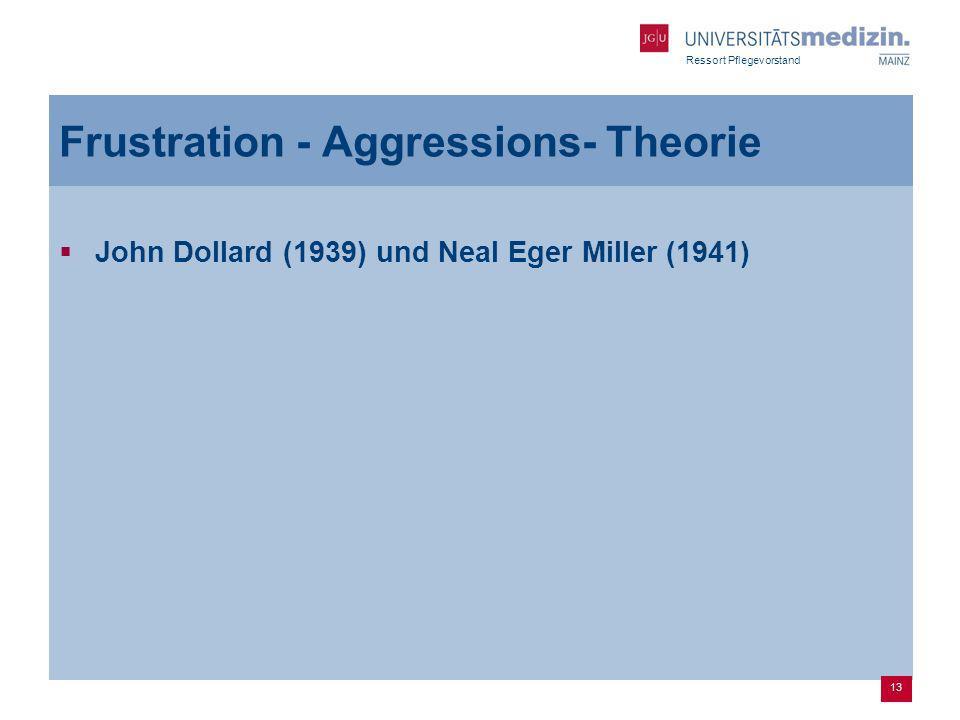 Ressort Pflegevorstand Frustration - Aggressions- Theorie John Dollard (1939) und Neal Eger Miller (1941) 13