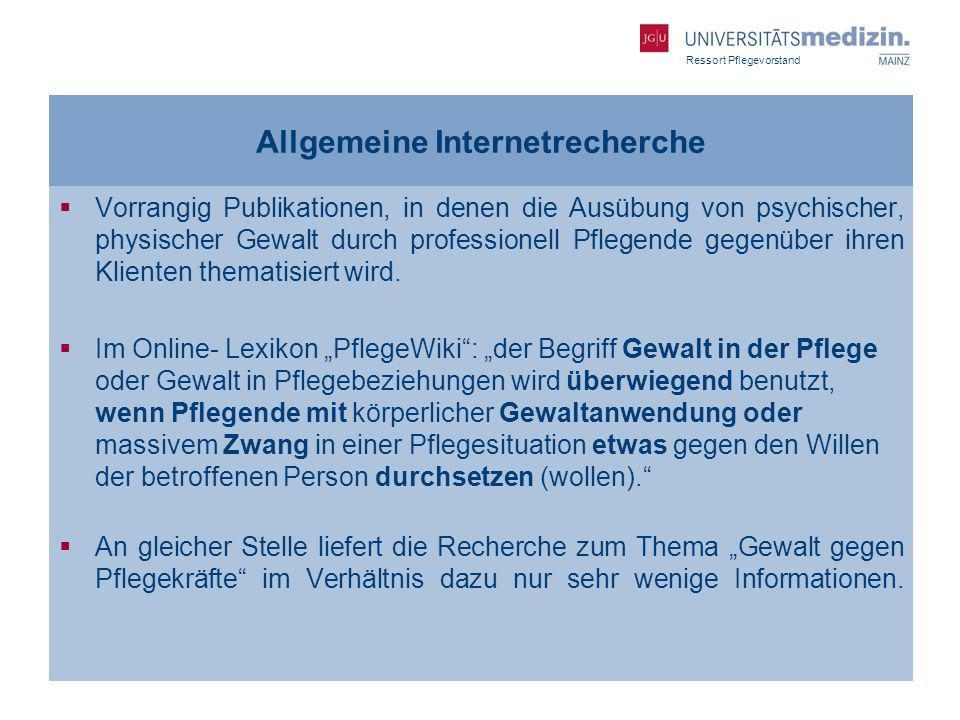 Ressort Pflegevorstand Allgemeine Internetrecherche Vorrangig Publikationen, in denen die Ausübung von psychischer, physischer Gewalt durch profession