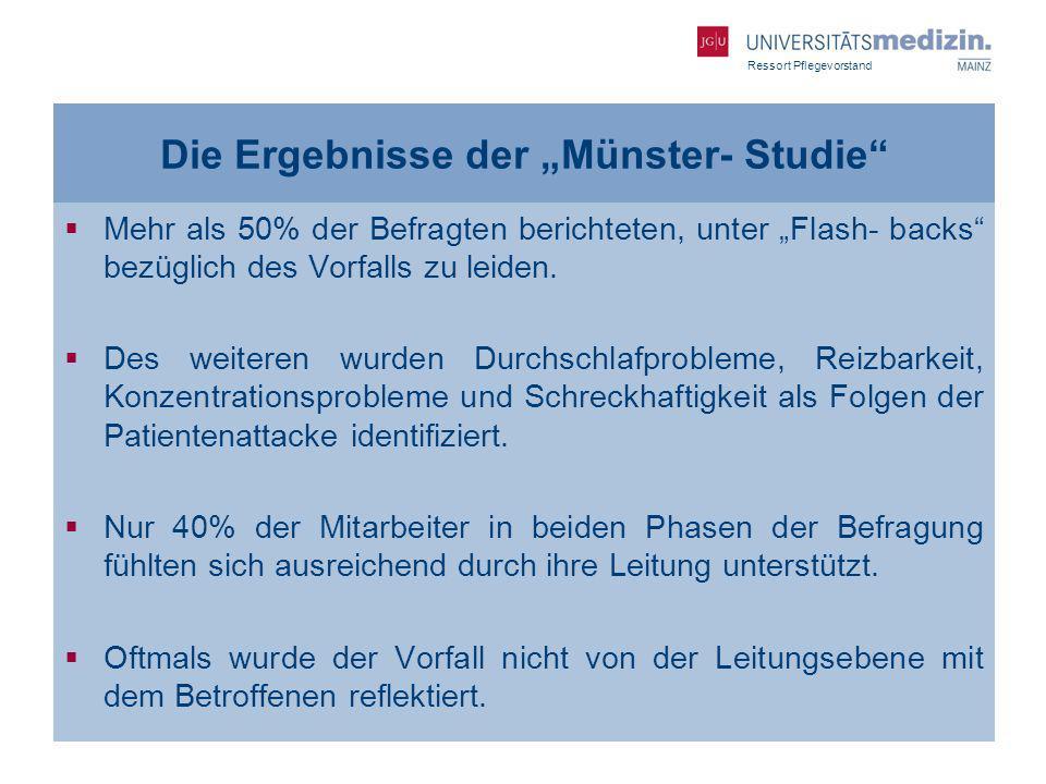 Ressort Pflegevorstand Die Ergebnisse der Münster- Studie Mehr als 50% der Befragten berichteten, unter Flash- backs bezüglich des Vorfalls zu leiden.