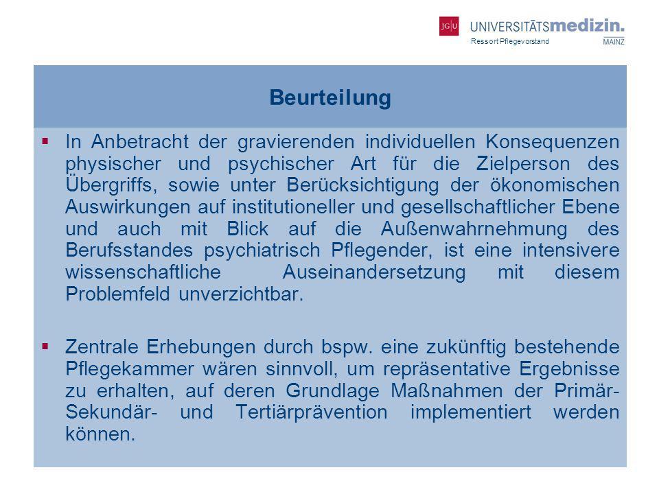 Ressort Pflegevorstand Beurteilung In Anbetracht der gravierenden individuellen Konsequenzen physischer und psychischer Art für die Zielperson des Übe
