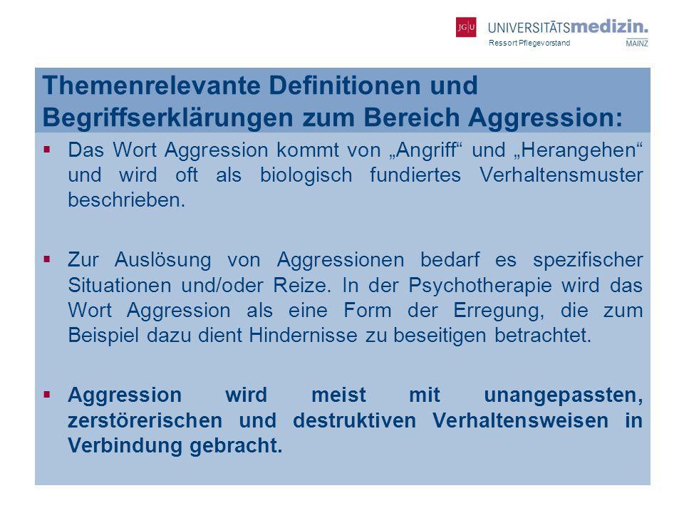 Ressort Pflegevorstand Themenrelevante Definitionen und Begriffserklärungen zum Bereich Aggression: Das Wort Aggression kommt von Angriff und Herangeh
