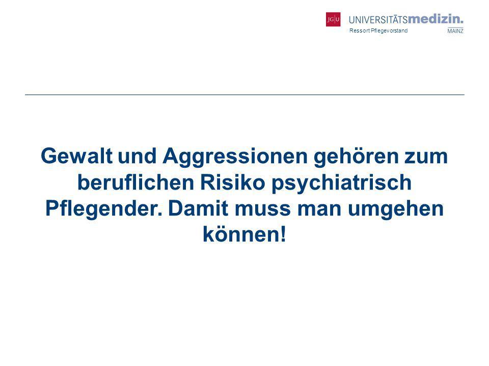 Ressort Pflegevorstand Gewalt und Aggressionen gehören zum beruflichen Risiko psychiatrisch Pflegender. Damit muss man umgehen können!