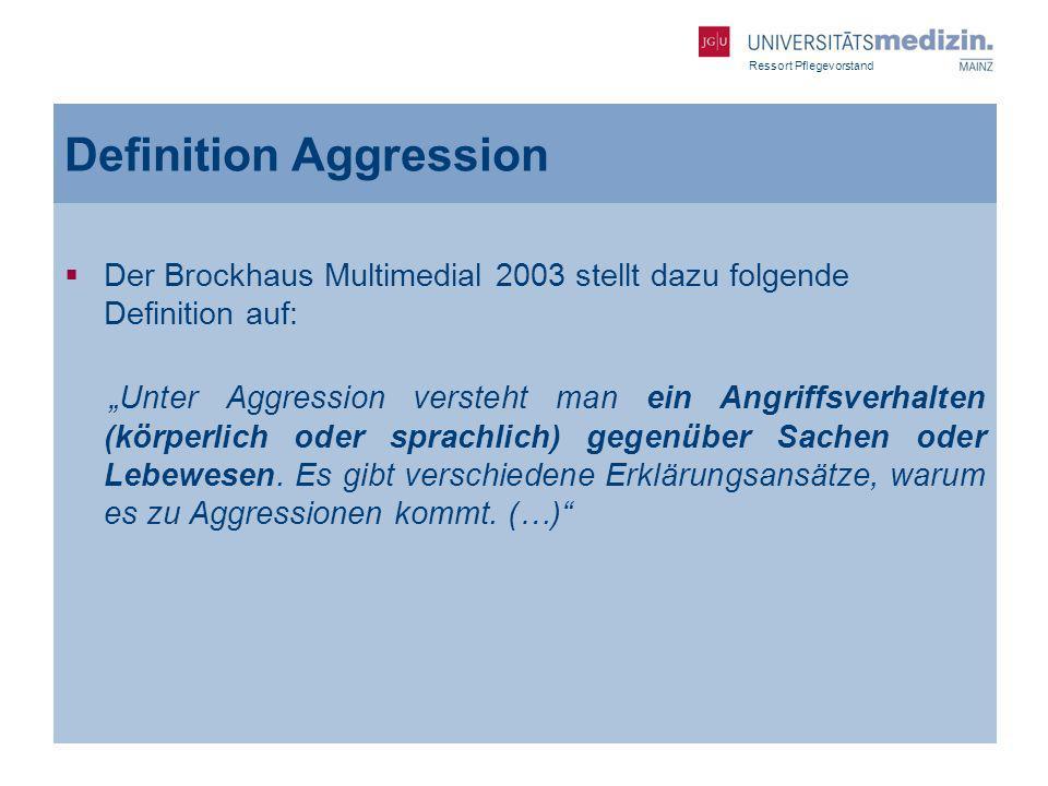 Ressort Pflegevorstand Definition Aggression Der Brockhaus Multimedial 2003 stellt dazu folgende Definition auf: Unter Aggression versteht man ein Ang