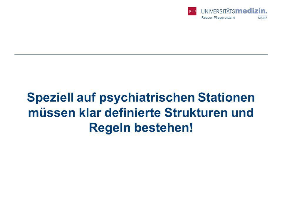 Ressort Pflegevorstand Speziell auf psychiatrischen Stationen müssen klar definierte Strukturen und Regeln bestehen!