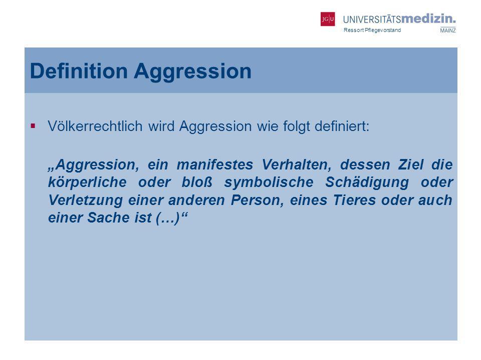 Ressort Pflegevorstand Definition Aggression Völkerrechtlich wird Aggression wie folgt definiert: Aggression, ein manifestes Verhalten, dessen Ziel di