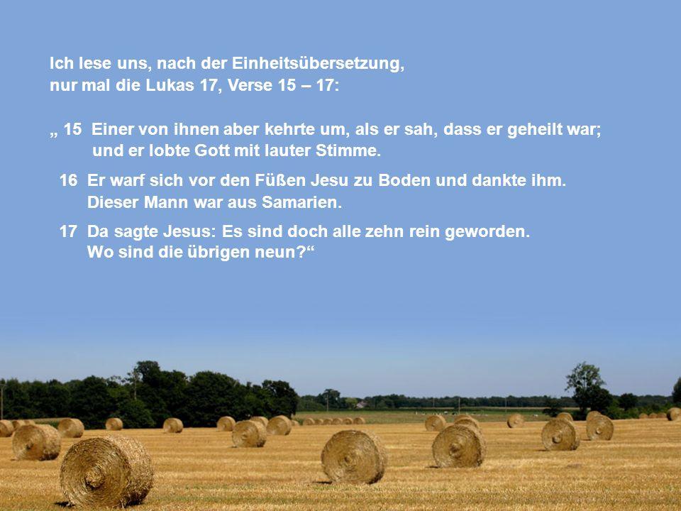 Ich lese uns, nach der Einheitsübersetzung, nur mal die Lukas 17, Verse 15 – 17: 15 Einer von ihnen aber kehrte um, als er sah, dass er geheilt war; u
