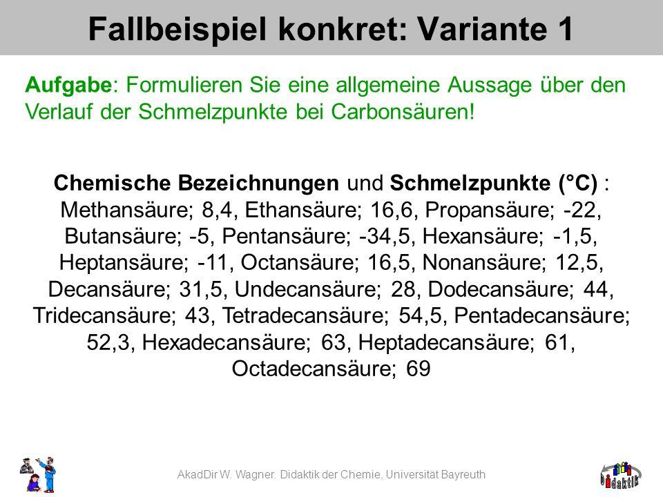 Chemische Bezeichnungen und Schmelzpunkte (°C) : Methansäure; 8,4, Ethansäure; 16,6, Propansäure; -22, Butansäure; -5, Pentansäure; -34,5, Hexansäure; -1,5, Heptansäure; -11, Octansäure; 16,5, Nonansäure; 12,5, Decansäure; 31,5, Undecansäure; 28, Dodecansäure; 44, Tridecansäure; 43, Tetradecansäure; 54,5, Pentadecansäure; 52,3, Hexadecansäure; 63, Heptadecansäure; 61, Octadecansäure; 69 Fallbeispiel konkret: Variante 1 Aufgabe: Formulieren Sie eine allgemeine Aussage über den Verlauf der Schmelzpunkte bei Carbonsäuren.