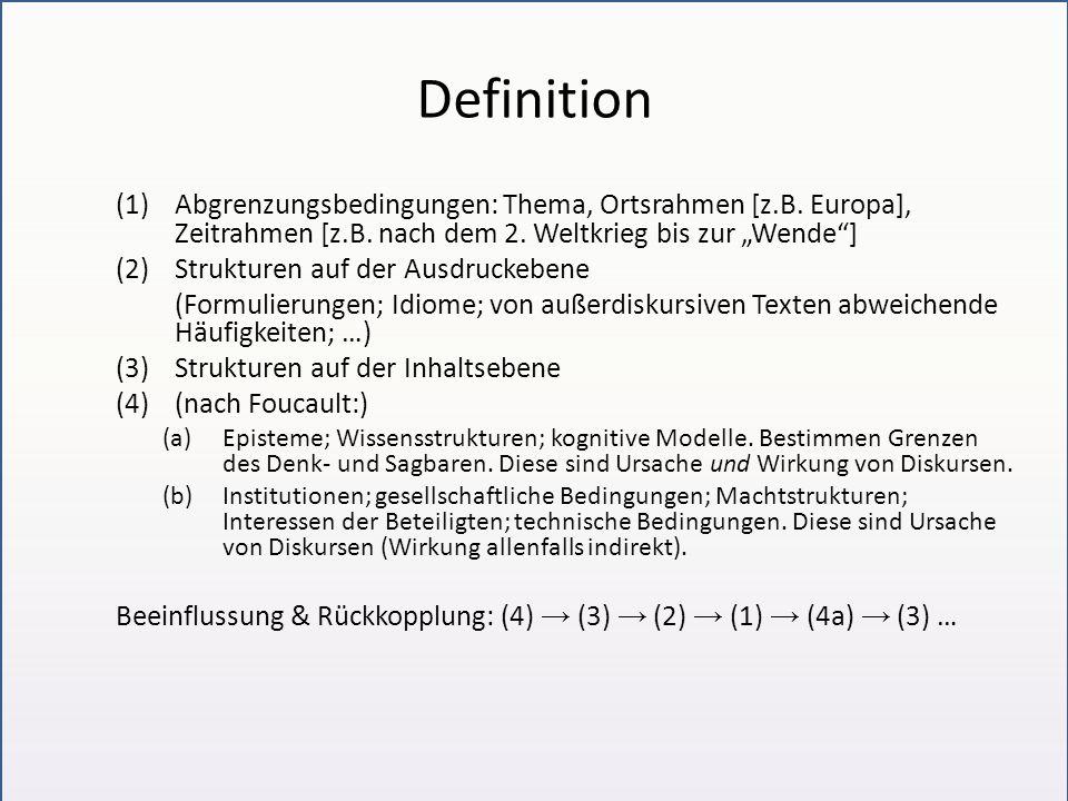 Definition (1)Abgrenzungsbedingungen: Thema, Ortsrahmen [z.B. Europa], Zeitrahmen [z.B. nach dem 2. Weltkrieg bis zur Wende] (2)Strukturen auf der Aus