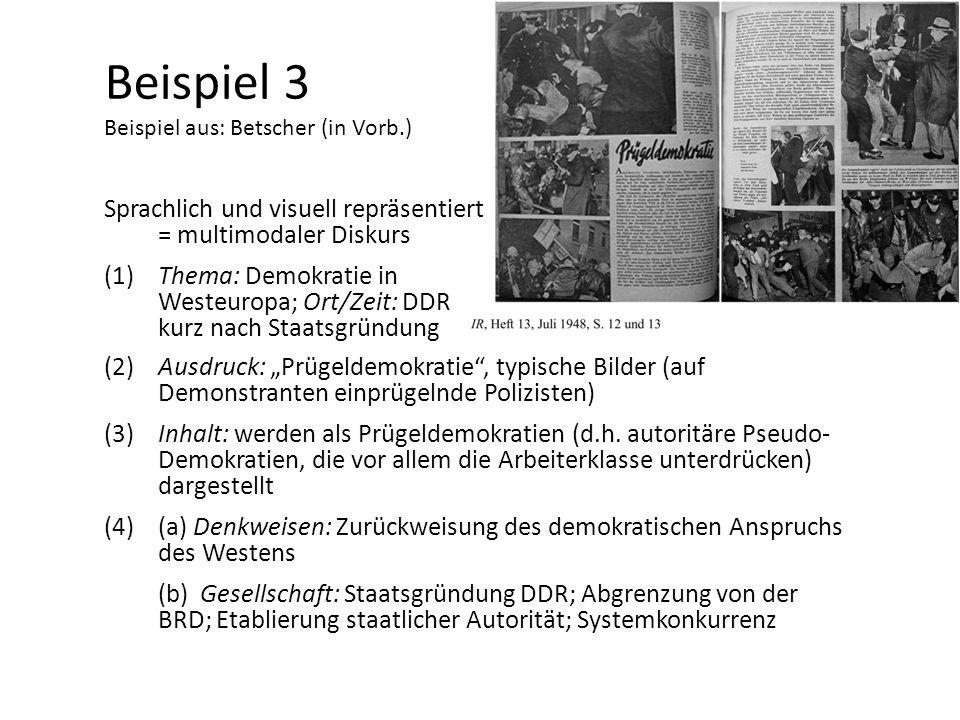 Beispiel 3 Beispiel aus: Betscher (in Vorb.) Sprachlich und visuell repräsentiert = multimodaler Diskurs (1)Thema: Demokratie in Westeuropa; Ort/Zeit: