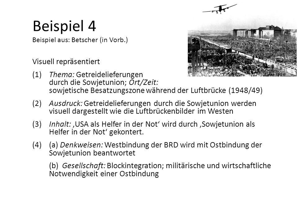 Beispiel 4 Beispiel aus: Betscher (in Vorb.) Visuell repräsentiert (1)Thema: Getreidelieferungen durch die Sowjetunion; Ort/Zeit: sowjetische Besatzun