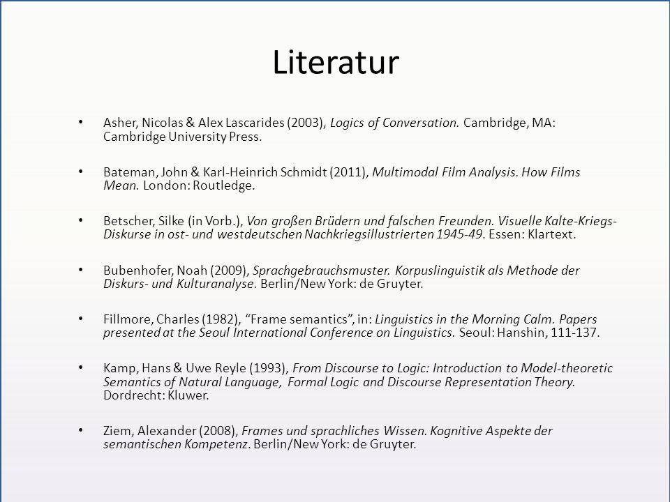 Literatur Asher, Nicolas & Alex Lascarides (2003), Logics of Conversation. Cambridge, MA: Cambridge University Press. Bateman, John & Karl-Heinrich Sc