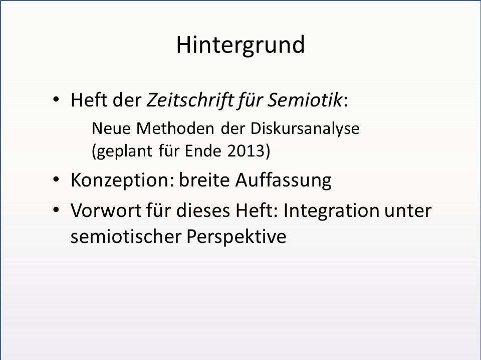 Hintergrund Heft der Zeitschrift für Semiotik: Neue Methoden der Diskursanalyse (geplant für Ende 2013) Konzeption: breite Auffassung Vorwort für dies