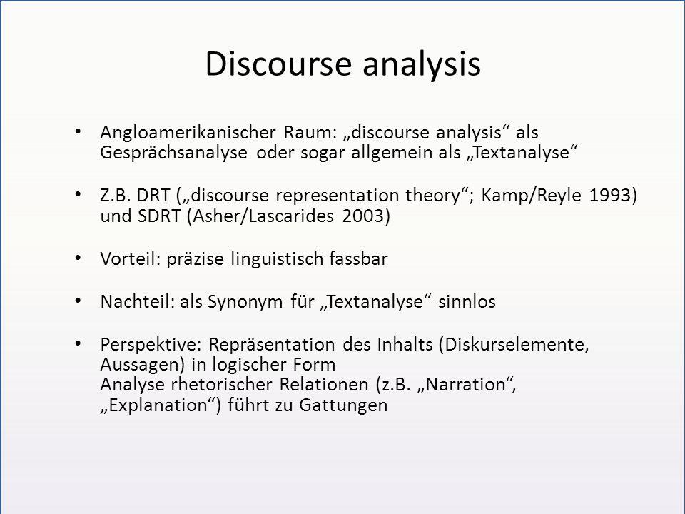 Discourse analysis Angloamerikanischer Raum: discourse analysis als Gesprächsanalyse oder sogar allgemein als Textanalyse Z.B. DRT (discourse represen
