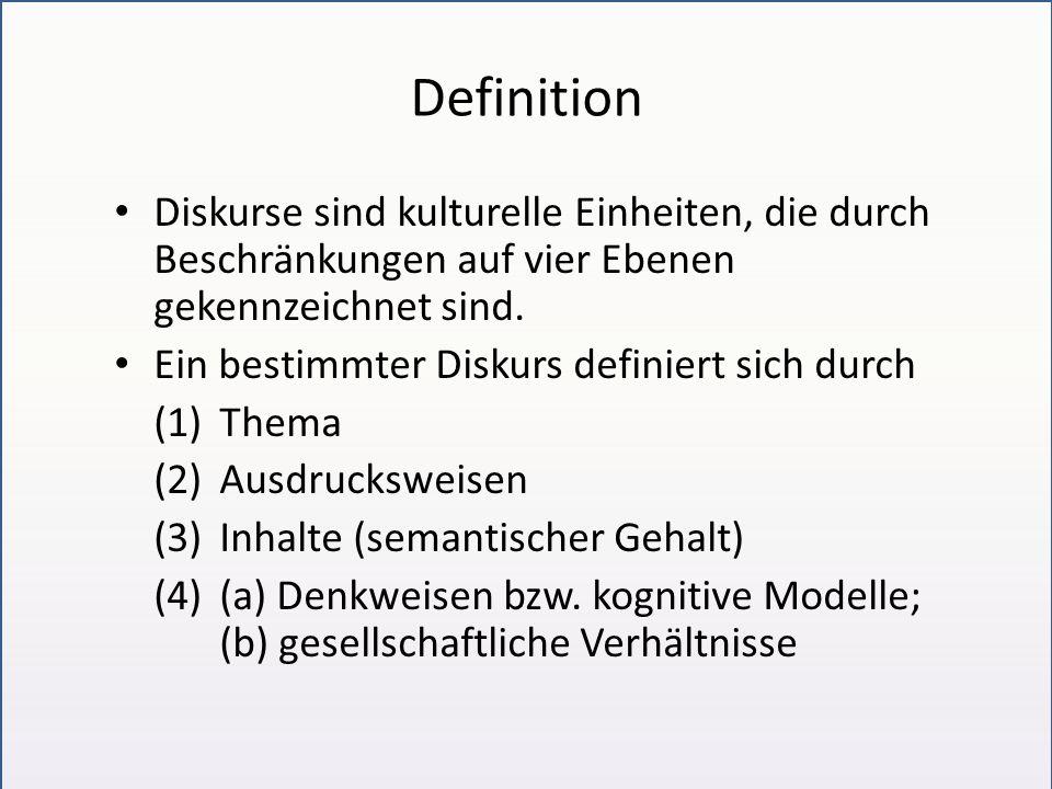Definition Diskurse sind kulturelle Einheiten, die durch Beschränkungen auf vier Ebenen gekennzeichnet sind. Ein bestimmter Diskurs definiert sich dur