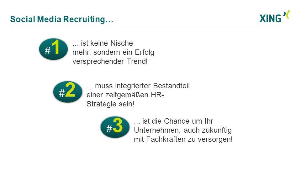 Social Media Recruiting… #2#2 #2#2... muss integrierter Bestandteil einer zeitgemäßen HR- Strategie sein! #1#1 #1#1... ist keine Nische mehr, sondern