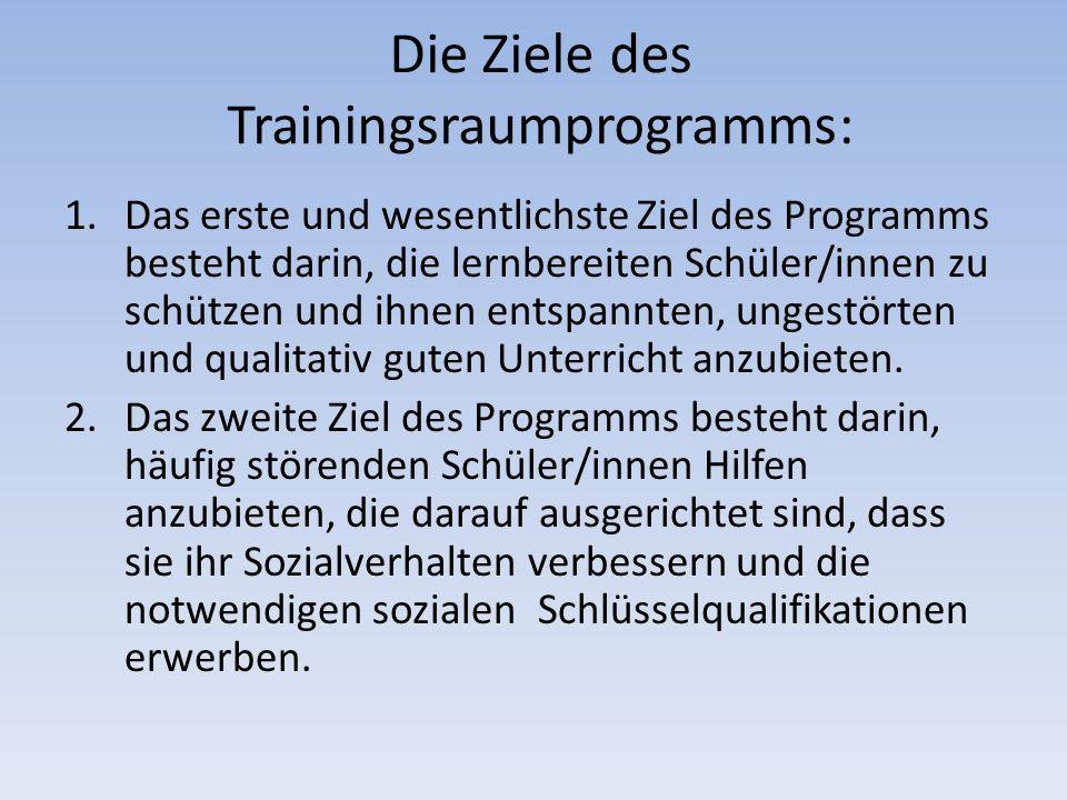 Die Ziele des Trainingsraumprogramms: 1.Das erste und wesentlichste Ziel des Programms besteht darin, die lernbereiten Schüler/innen zu schützen und i