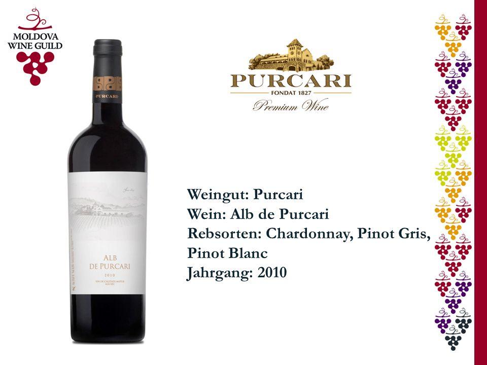 Weingut: Purcari Wein: Alb de Purcari Rebsorten: Chardonnay, Pinot Gris, Pinot Blanc Jahrgang: 2010