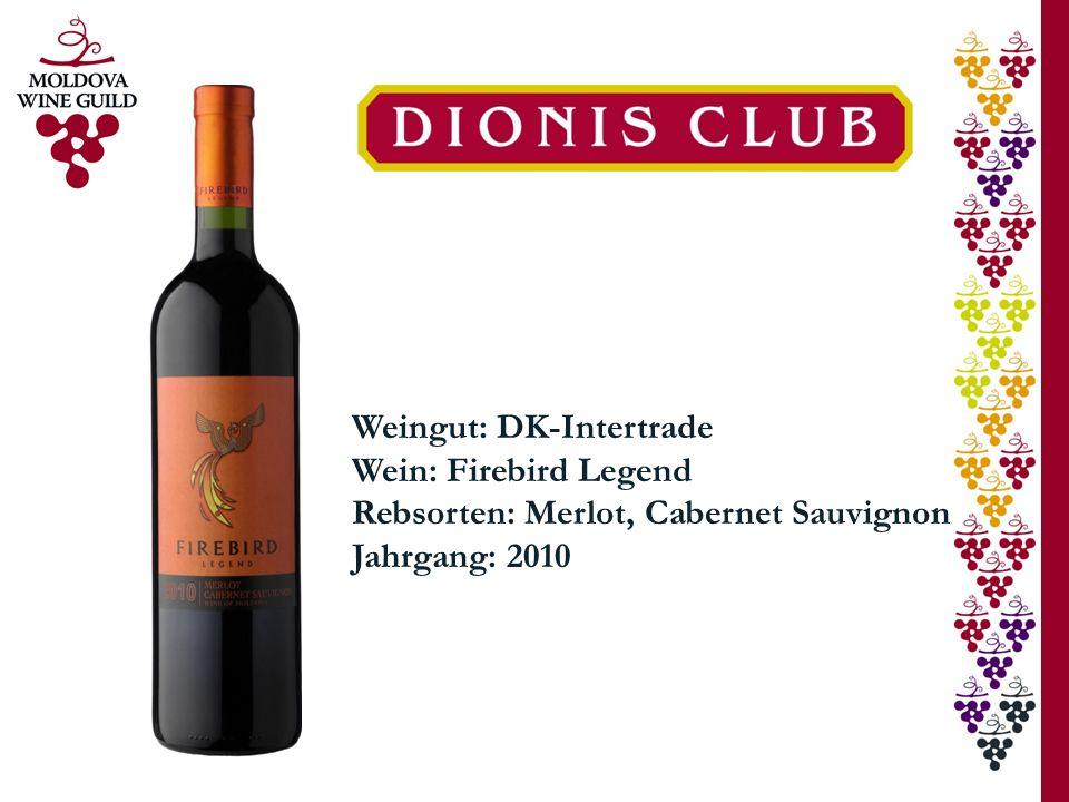 Weingut: DK-Intertrade Wein: Firebird Legend Rebsorten: Merlot, Cabernet Sauvignon Jahrgang: 2010