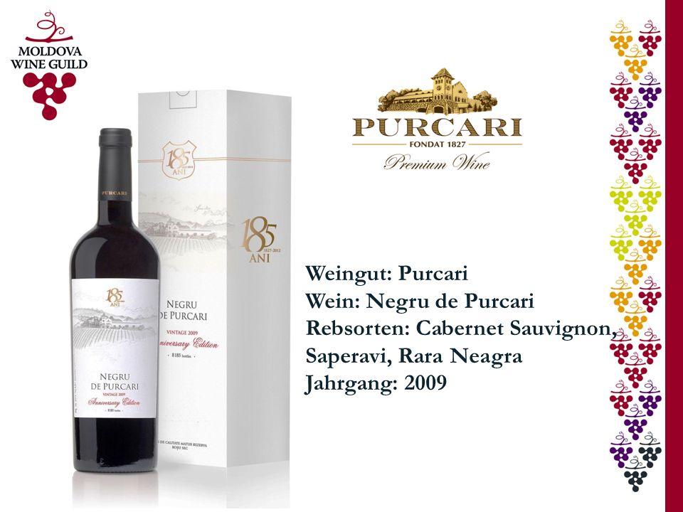 Weingut: Purcari Wein: Negru de Purcari Rebsorten: Cabernet Sauvignon, Saperavi, Rara Neagra Jahrgang: 2009