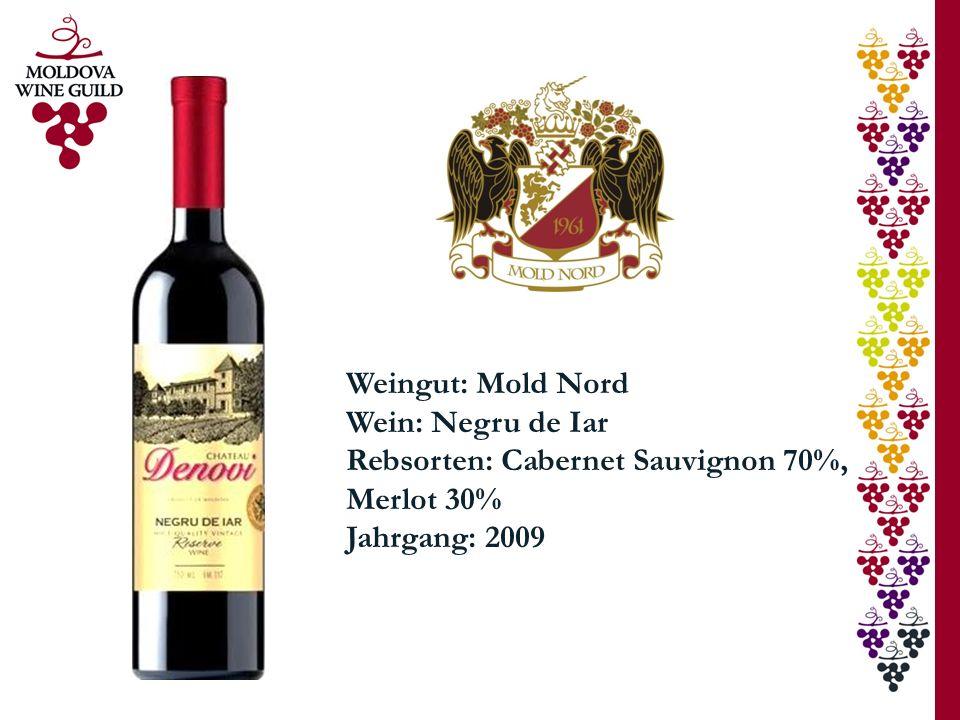 Weingut: Mold Nord Wein: Negru de Iar Rebsorten: Cabernet Sauvignon 70%, Merlot 30% Jahrgang: 2009