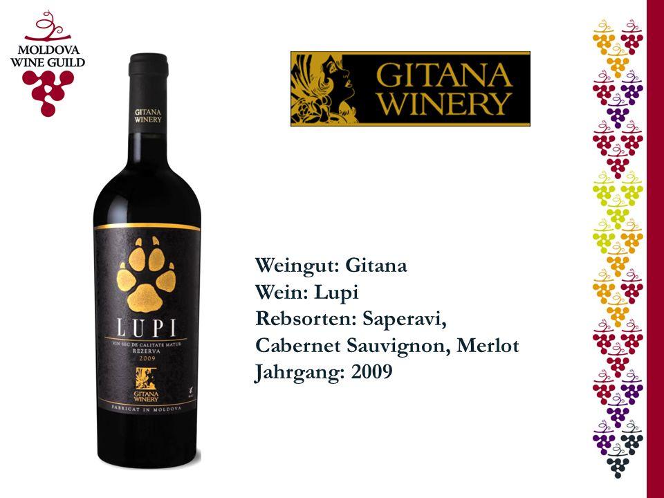 Weingut: Gitana Wein: Lupi Rebsorten: Saperavi, Cabernet Sauvignon, Merlot Jahrgang: 2009