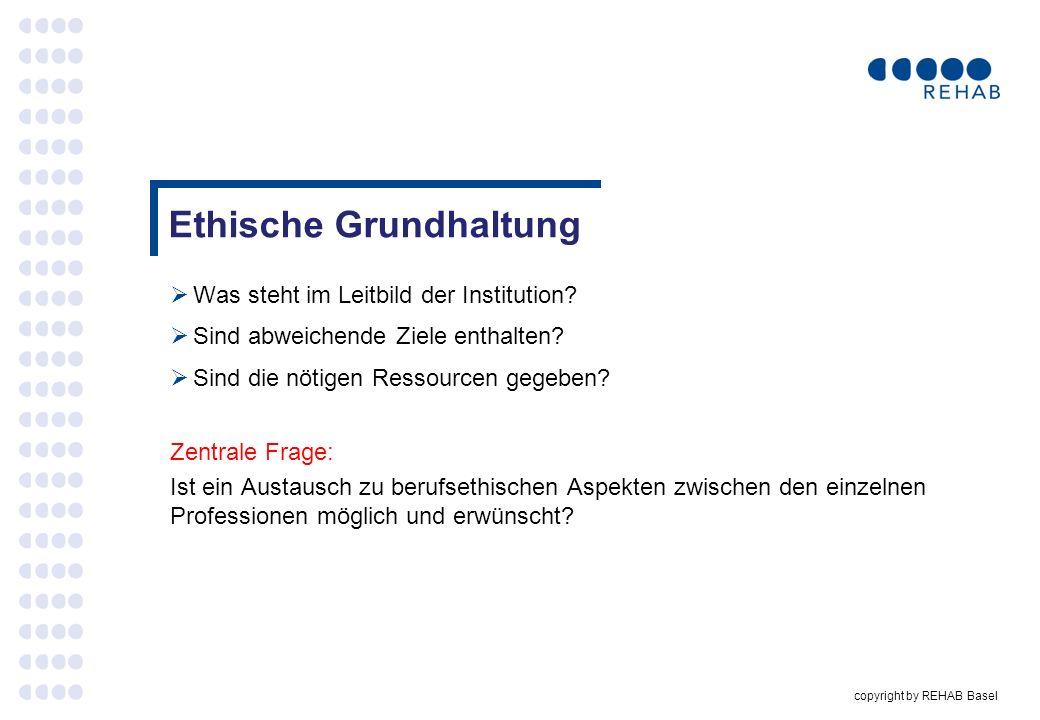 copyright by REHAB Basel Was steht im Leitbild der Institution? Sind abweichende Ziele enthalten? Sind die nötigen Ressourcen gegeben? Zentrale Frage: