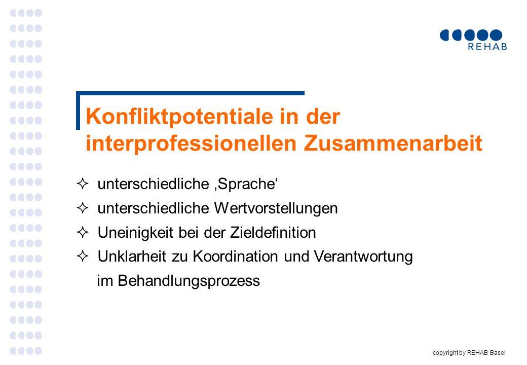 copyright by REHAB Basel Konfliktpotentiale in der interprofessionellen Zusammenarbeit unterschiedliche Sprache unterschiedliche Wertvorstellungen Une