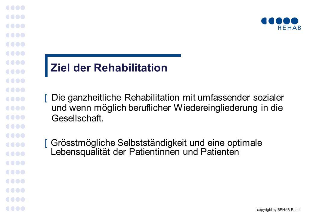 copyright by REHAB Basel Ziel der Rehabilitation [Die ganzheitliche Rehabilitation mit umfassender sozialer und wenn möglich beruflicher Wiedereinglie