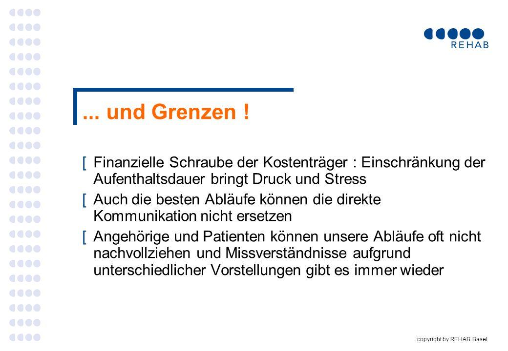 copyright by REHAB Basel... und Grenzen ! [Finanzielle Schraube der Kostenträger : Einschränkung der Aufenthaltsdauer bringt Druck und Stress [Auch di