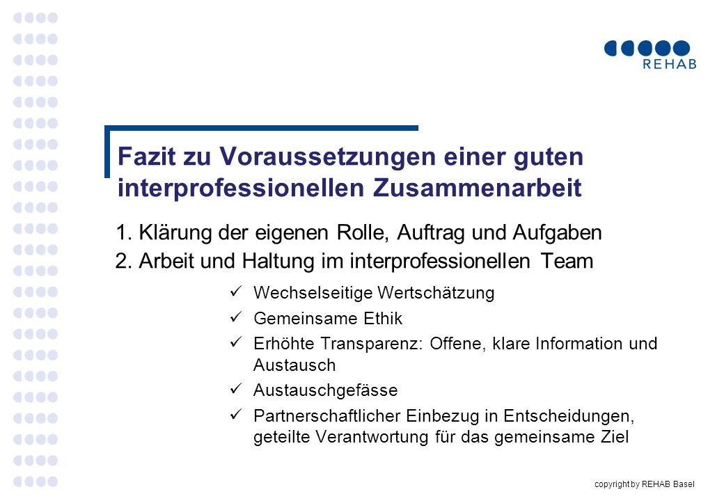 copyright by REHAB Basel Fazit zu Voraussetzungen einer guten interprofessionellen Zusammenarbeit 1. Klärung der eigenen Rolle, Auftrag und Aufgaben 2