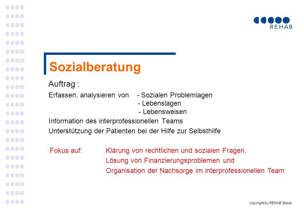copyright by REHAB Basel Sozialberatung Auftrag : Erfassen, analysieren von - Sozialen Problemlagen - Lebenslagen - Lebensweisen Information des inter