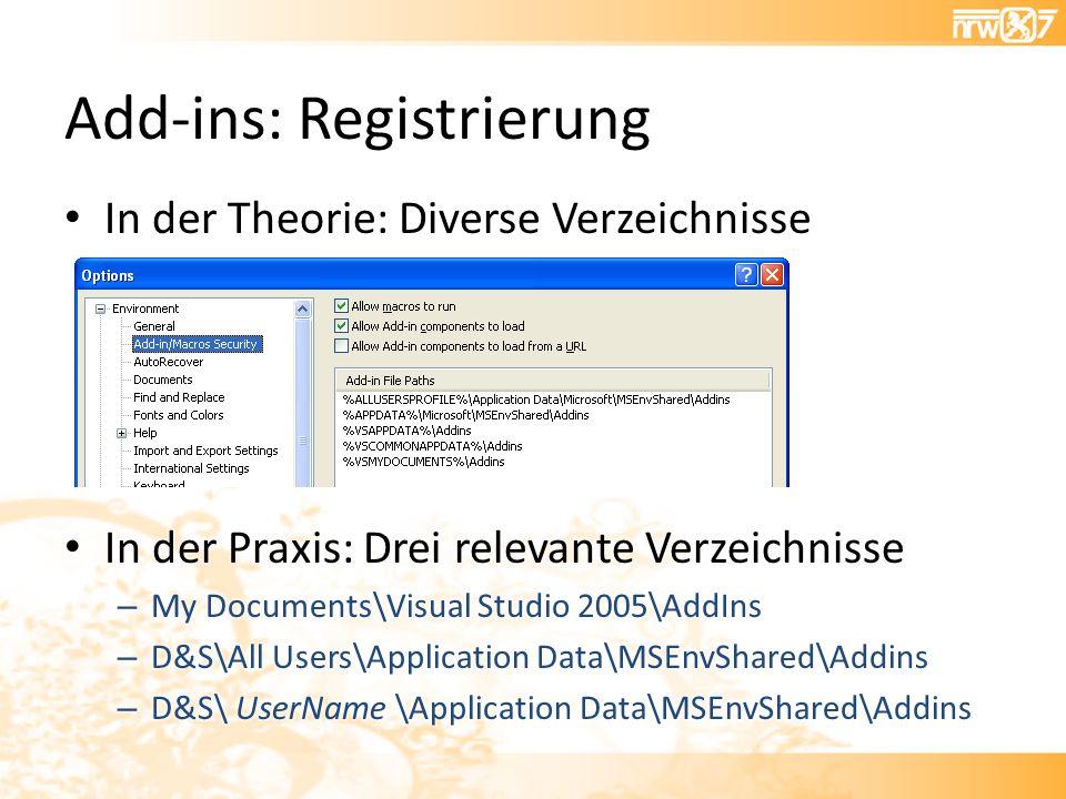 Add-ins: Registrierung