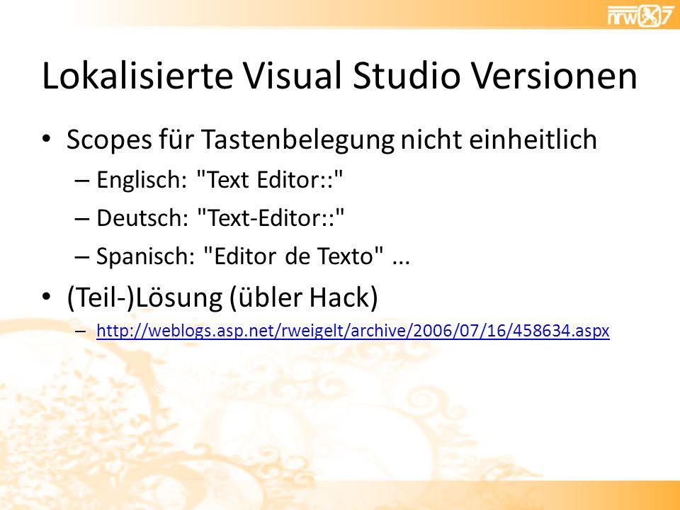 Lokalisierte Visual Studio Versionen