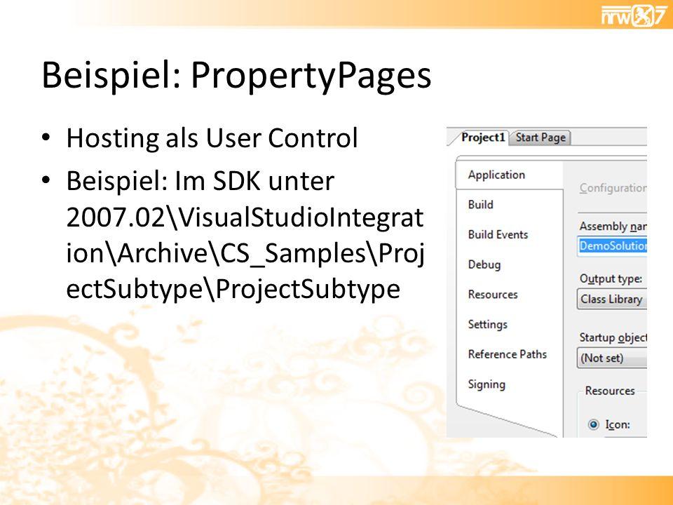 Beispiel: PropertyPages