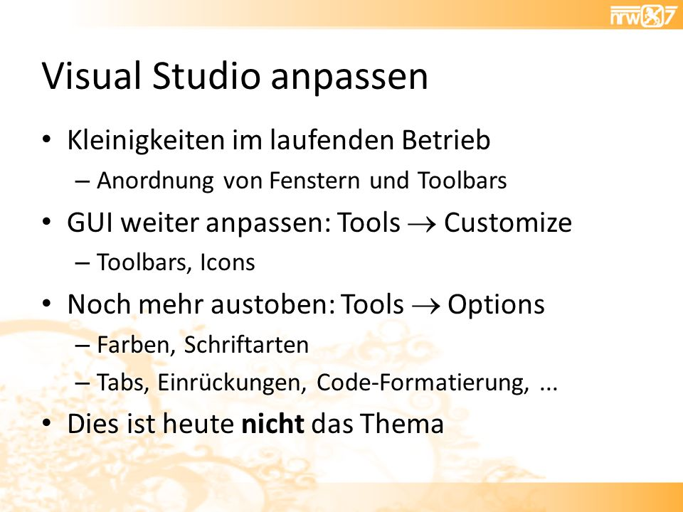 Visual Studio anpassen